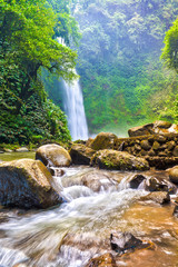 Tropical waterfall and flowing river in a dense rain-forest gorge. This is Nung-Nung waterfall in Bali, Indonesia