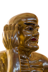 close up of Chinese golden monk.