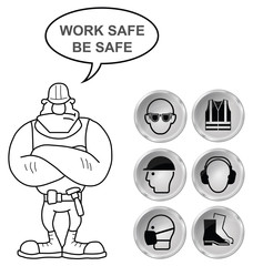 Grey Health and Safety icons and builder