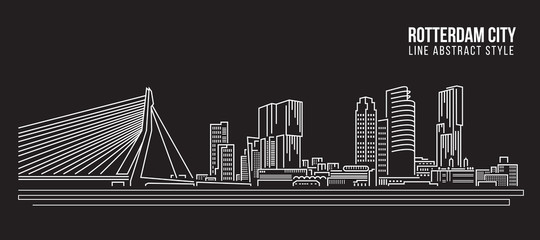 Photo Blinds Rotterdam Cityscape Building Line art Vector Illustration design - Rotterdam City