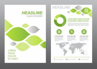 Layout flyer template size A4 cover page green and gray leaf abstract Vector design