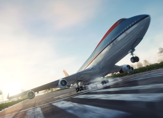 passenger plane take off from runways travel business background concept