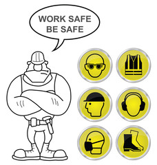 Yellow Health and Safety icons and builder