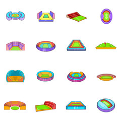Stadium icons set, cartoon style