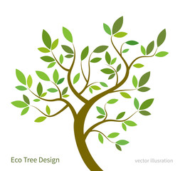 Stylized vector tree with branches and leaves, eco concept. Vector tree background for ecological and gardening design