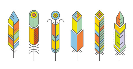 Wall Mural - Abstract feather color icons