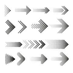 Wall Mural - Dotted halftone arrows vector set
