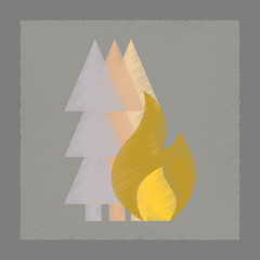 flat shading style icon forest fire