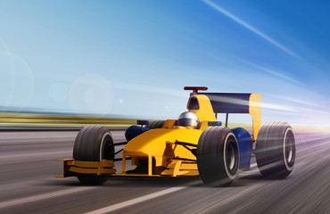 Poster F1 yellow race car