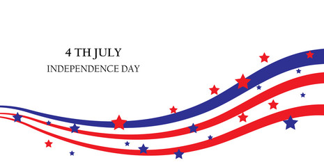 abstract ribbons, flag banner July 4 Independence Day of America, USA. Vector illustration;