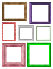 frame picture frame wooden Carved pattern isolated on a white ba