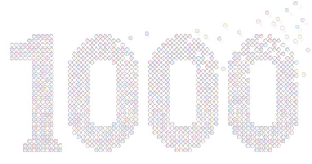 Thousand pastel colored bubbles representing number THOUSAND - exactly counted - isolated vector illustration on white background.