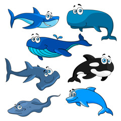 Funny cartoon sea animals characters