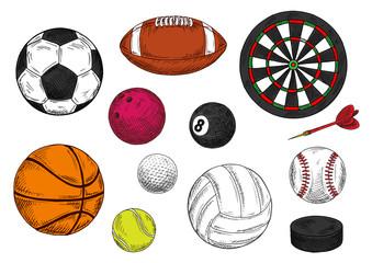Sporting balls, dartboard and hockey puck sketches