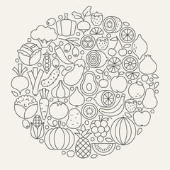 Fruit and Vegetable Line Icons Set Circle Shape
