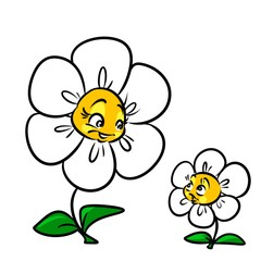 Daisy flower mother child cartoon illustration isolated image character nature