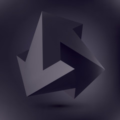 Impossible shape, unreal arrows, 3 arrows vector, black crystal, 3D low polygon geometry, abstract vector object, lines and points
