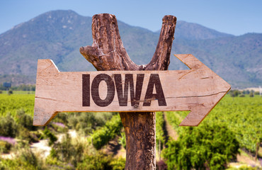 Iowa wooden sign with landscape background