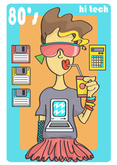 Cute 80s style girl with cool sunglasses and retro technology