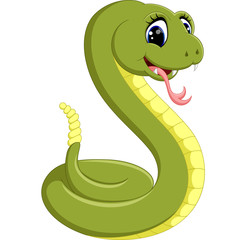 illustration of Cute green snake cartoon