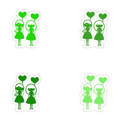 assembly realistic sticker design on paper girlfriend balloons