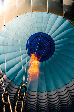 Closeup of a hot air balloon