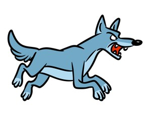 Wolf predator runs cartoon illustration isolated image animal character
