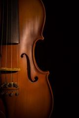 violin vintage on blackl background