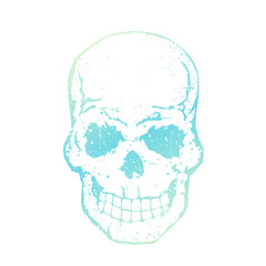 skull with tender gradient isolated on white, t-shirt print with skull, vector illustration