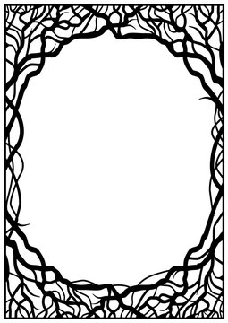 Frame of silhouettes of branches in screen technology for vertical sheet