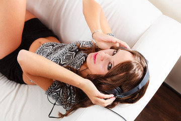 woman in headphones listening music mp3 relaxing