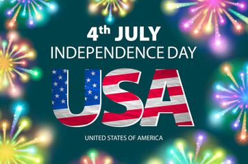 Independence day of the USA typographical background. Shining fireworks and place for text. vector