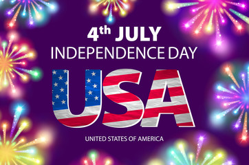 Fireworks background for 4th of July Independense Day. Fourth of July Independence Day card. Independence day fireworks. Independence day celebrate. Independence Day. USA Independence Day vector