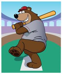 Bear At Bat / A cartoon bear at home plate.