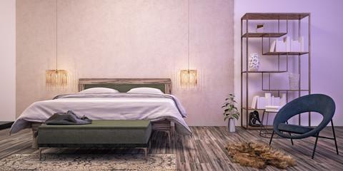 Modern interior design of bedroom (3d Render)