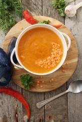 Lentil soup with eggplant