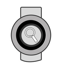 orbed watch with lens icon on the screen over isolated background, vector illustration