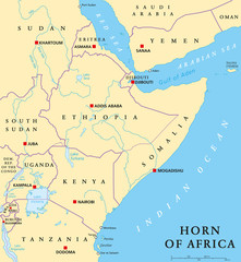 Horn of Africa peninsula political map with capitals, national borders, important cities, rivers and lakes. In ancient times called Land of the Berbers. English labeling and scaling. Illustration.