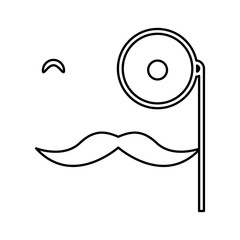 mustache and glasses hipster style  isolated icon design