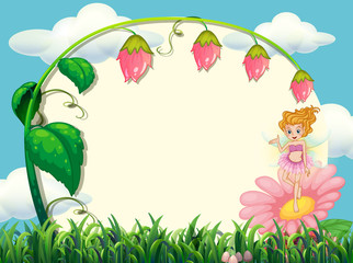 Frame design with fairy and flower