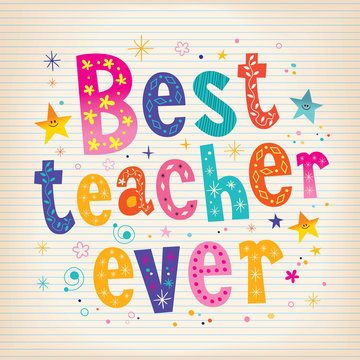 best teacher ever lettering design greeting card with lined note book paper background