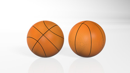 Two basketballs isolated on white background, 3D illustration