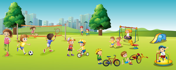 Children playing games and sports in the park