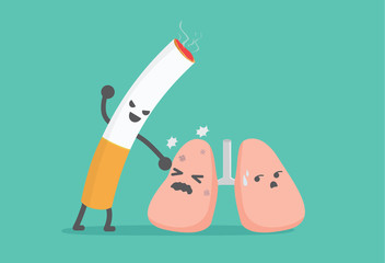Lung have been beaten from cigarette. This picture means smoking like the lung harming.