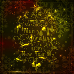 I wish you a Merry Christmas lettering. Gold Congratulations card.