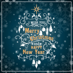 I wish you a Merry Christmas and Happy New Year lettering. Congratulations card.