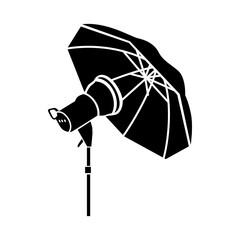 Studio flash with umbrella icon in simple style