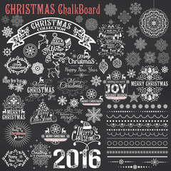 Set of Christmas calligraphic design elements.