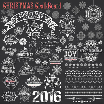 Set of Christmas calligraphic design elements.