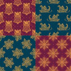 Christmas collection. Set seamless with icons of mandala ornament.
